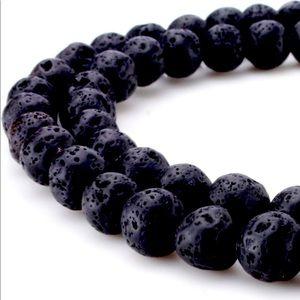 8mm Natural Black Lava Beads Stone Gemstone Round